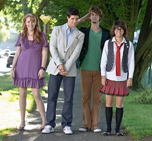 The new Scooby Gang -- Kate Melton as Daphne, Robbie Amell as Fred, Nick Palatas as Shaggy, and Hayley Kiyoko as Velma
