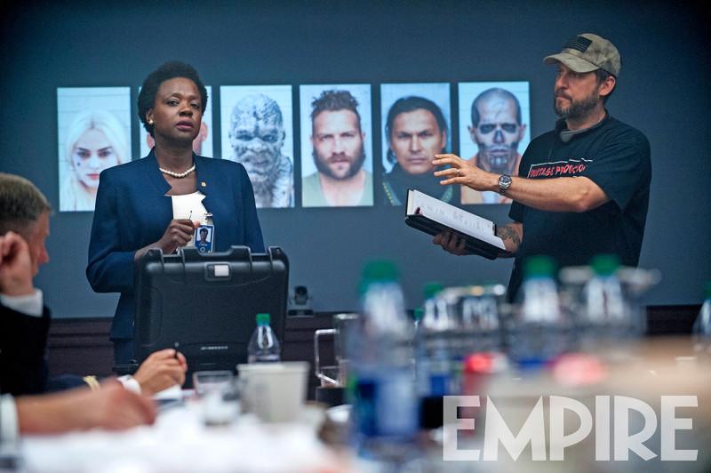 Viola Davis as Amanda Waller, getting direction from David Ayer.