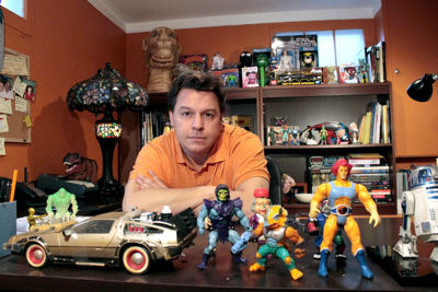Skeletor and Lion-O live on Hembrough's desk in his home office, and a Deloreon from Back to Future sits nearby just in case they need to make a speedy departure.