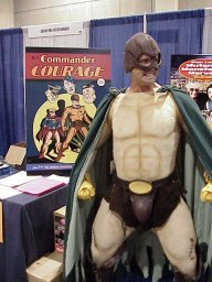An actor hired to portray Commander Courage for the convention.
