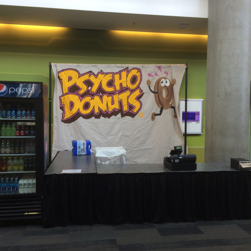 The last time this weekend we will have an unobstructed view of the Psycho Donuts booth.